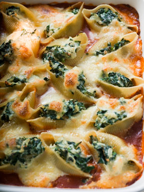 pasta shells with spinach